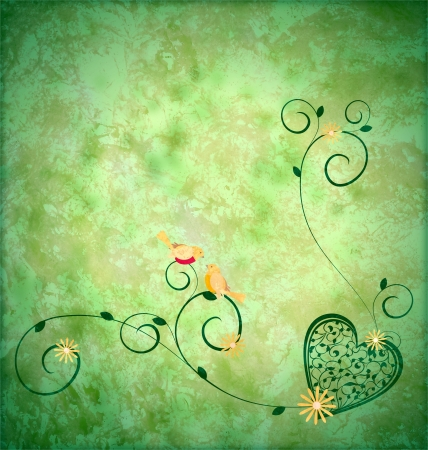 little yellow birds in love sitting on the decor florals green grunge bcground photo