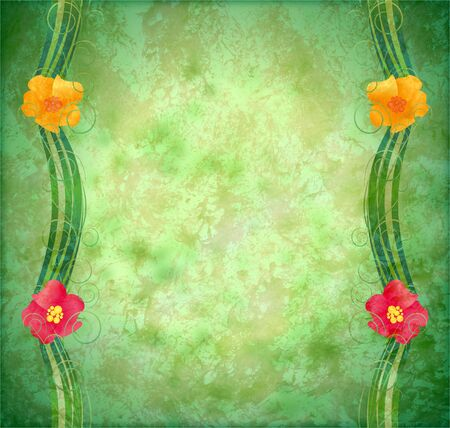 green textured background with flowers border Stock Photo - 14820945