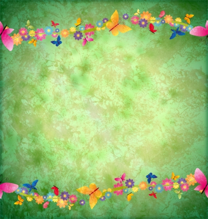 green textured background with flowers border photo