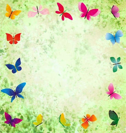 green grunge background with colorful butterflies frame photo