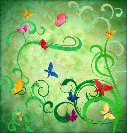 green grunge idea background with flourishes and butterflies easter or summertime theme photo