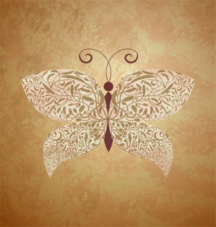 golden butterfly on dark brown vintage background photo