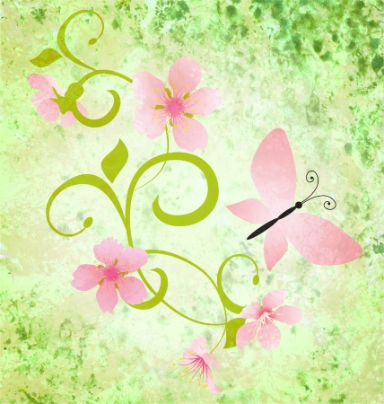 spring green grunge background with pink flowers and butterflies photo