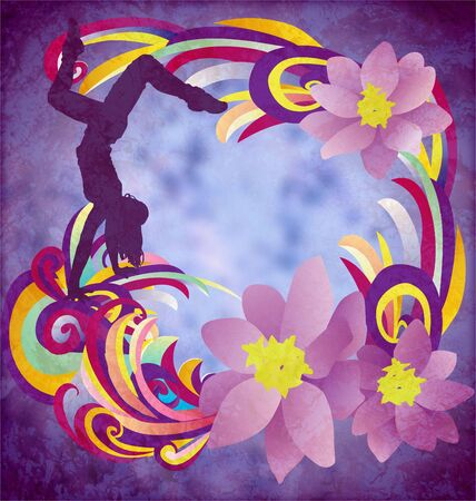 break dance: dancing woman silhuette with color stripes and flowers on blue grunge background