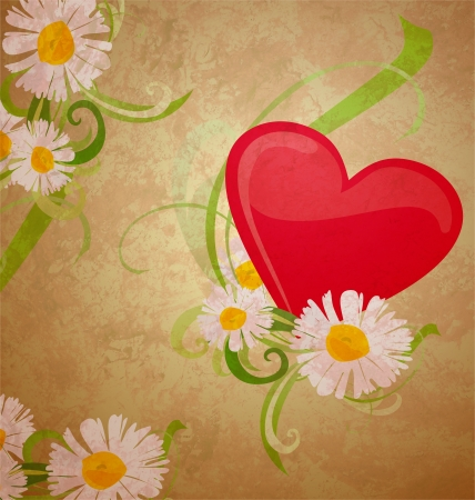 red heart ans daisy grunge watercolor on dark paper background photo
