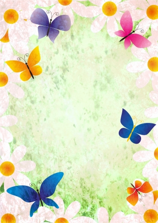 flowers and butterflies grunge style spring background vintage paper photo