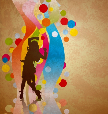 colorful waves background with woman dancing silhouette photo
