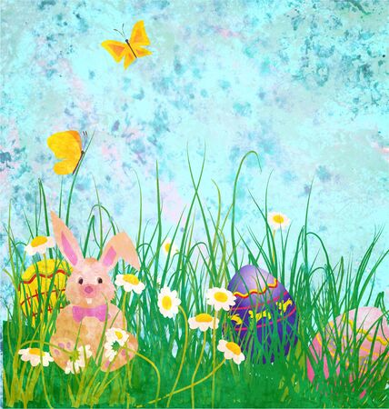 Easter rabbit with daisies flowers and butterfly on grunge paper blue background photo