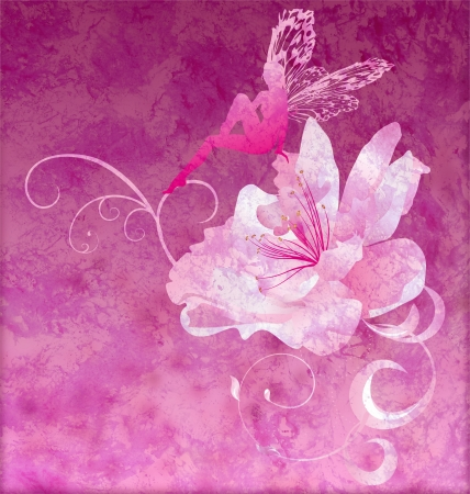 angel illustration: pink little flower fairy on the dark magenta spring or summer grunge background
