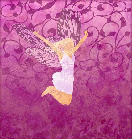 pink gunge illustration with fairy girl with butterfly wings illustration