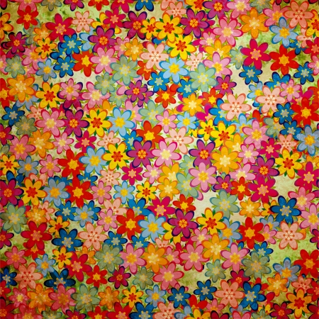 flowers background: grunge colorful flowers background pattern vintage stily Stock Photo