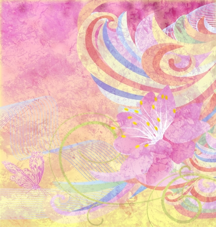 abstract pink flower with curves on pink and yellow grunge paper background photo