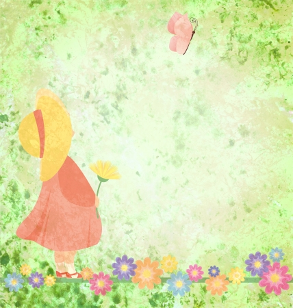 girl in pink dress and yellow hat with flowers and butterfly on green grunge background photo