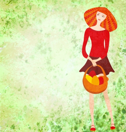 red young woman with easter basket on green watercolor background photo