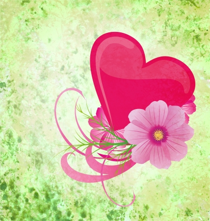 green grunge background with purple and pink heart and flowers Stock Photo - 14821193