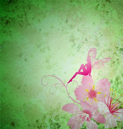 pink little flower fairy on the green spring or summer grunge background photo