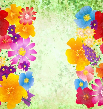 colorful flowers border on green background spring nature grunge background Stock Photo - 14820947