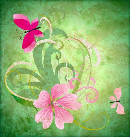 spring butterfly and pink flower on grunge green background easter idea illustration illustration
