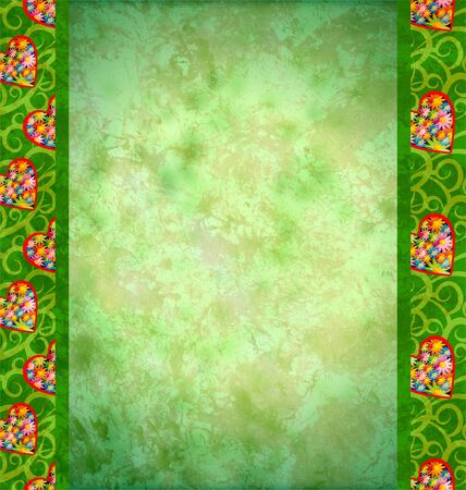 borders abstract: grunge green background with flowers hearts borders