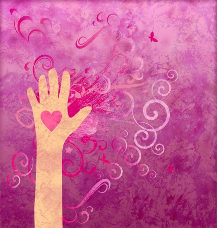 hope sign: Hand with heart giving love, friendship, peace or help. Magenta grunge Stock Photo