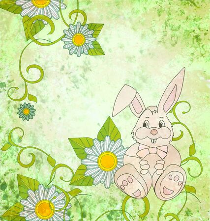 Cartoon rabbit with daisies on green grunge background photo