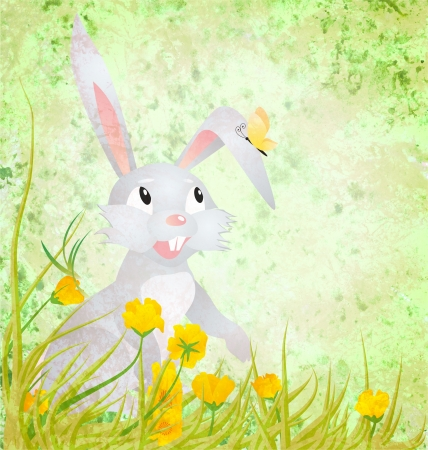Easter rabbit with yellow flowers and butterfly on grunge paper green background photo