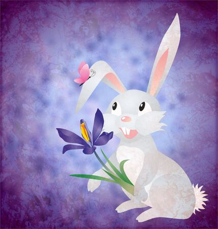 drawed: Easter rabbit with crocus flower on grunge paper blue background