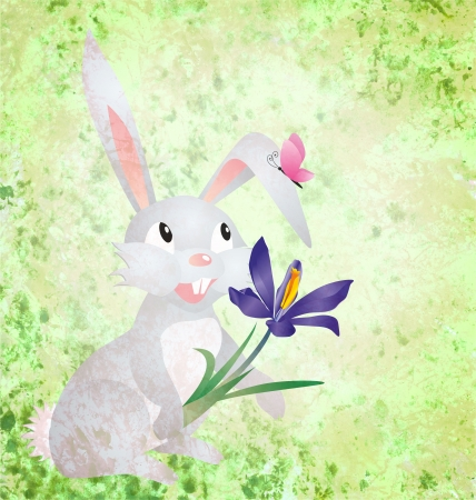 Easter rabbit with crocus flower on grunge paper green background photo