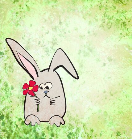 cartoon hare or rabbit illustration on grunge green watercolor background illustration