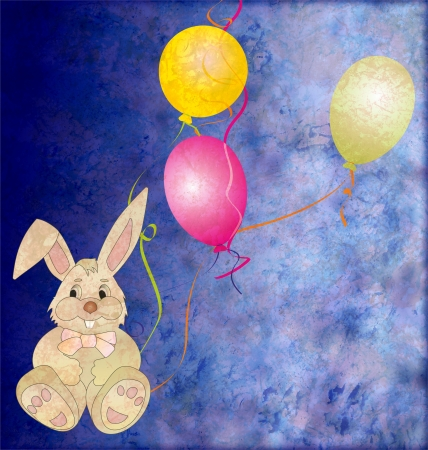 brown grey toy rabbit with three color balloons photo