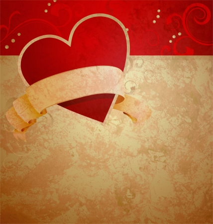 valentine's day or wedding vintage grunge paper background with red hearts Stock Photo - 14821152