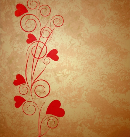 hearts tree retro grunge background brown paper Stock Photo - 14821253
