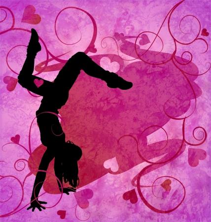tanzen cartoon: modernen städtischen tanzenden Frau auf dem grunge rosa Herzen Hintergrund