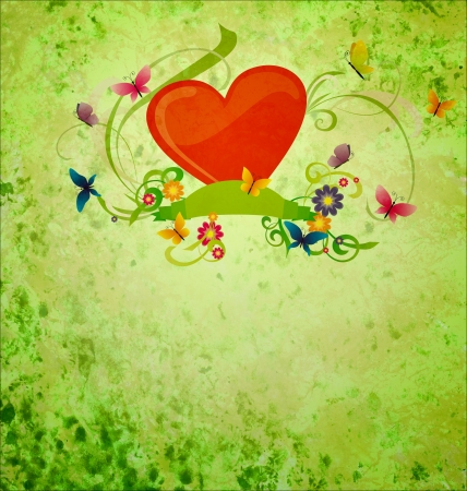 red hear, banner scroll, butterflies and flowers on green gunge background photo