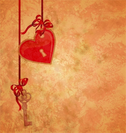 golden key: grunge textured background with lock red heart and key hanging on the red ribbons love theme Stock Photo