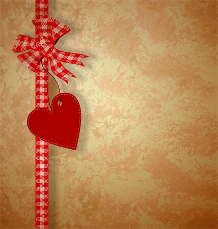 valentine's day or wedding vintage grunge paper background with red hearts Stock Photo - 14821285