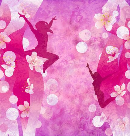 three urban modern dancing women silhuettes on the red or pink grunge background photo