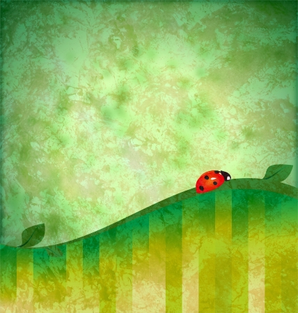 green background grunge illustration with red ladybird