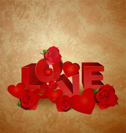 love red text on brown old paper grunge background with hearts and roses photo
