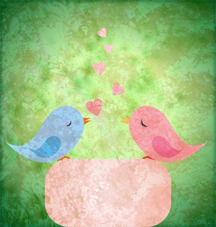 blue and pink birds in love on grunge retro paper background Stock Photo - 14821292