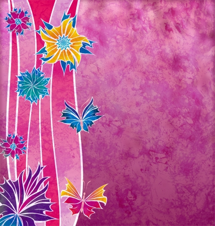 magenta decor: decorative magenta flowers with wave shapes and grunge effect
