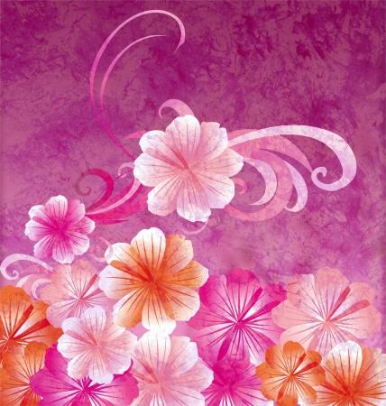 wall paint: pink flowers on dark pink background grunge illustration Stock Photo