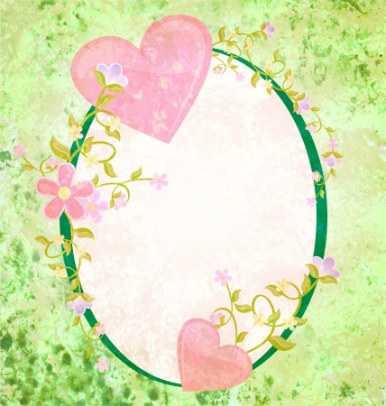 pink hearts love and romance oval grunge green frame with floral elements Stock Photo - 14821450