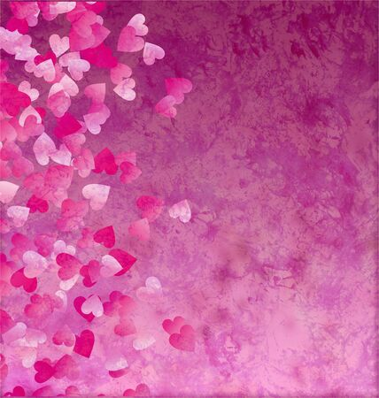 little hearts side grunge vintage paper background Stock Photo - 14821063