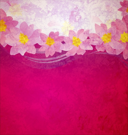 colorful grunge pink magenta and violet background with fantasy pink and yellow flowers