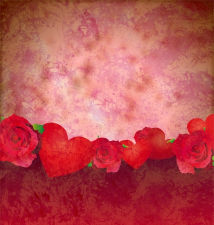 grunge red hearts and roses border red background lovely background Stock Photo - 14821165