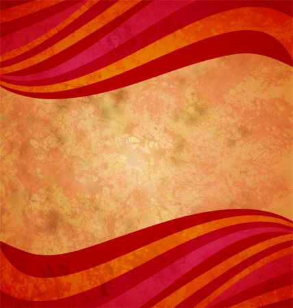 pink swirl: colorful red and orange waves on the grunge old paper background gorizontal frame