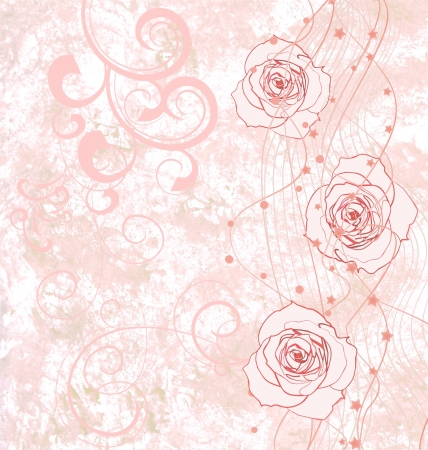 grunge textures: pink roses grunge illustration with flourishes for wedding or birthday Stock Photo
