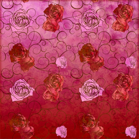 red roses vintage style pattern with grunge effect photo