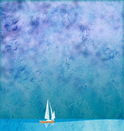 white yacht in blue sea under blue sky grunge background photo